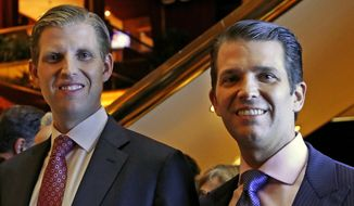 In this June 5, 2017, file photo, Eric Trump, left, and Donald Trump Jr., executive vice presidents of The Trump Organization, pose for a photograph in New York at an event announcing plans to launch two new hotel chains catering to budget and mid-priced travelers. (AP Photo/Kathy Willens, File)