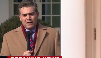 CNN's Jim Acosta reports from the Rose Garden, Feb. 15, 2019. (Image: CNN video screenshot)