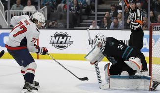 Washington Capitals' T.J. Oshie, left, scores a goal against San Jose Sharks goalie Martin Jones (31) during the second period of an NHL hockey game Thursday, Feb. 14, 2019, in San Jose, Calif. (AP Photo/Ben Margot)