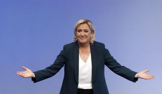 FILE In this Jan. 13, 2019 file photo, French far-right leader Marine le Pen arrives for a campaign meeting in Paris. Where once she felt isolated, French far-right leader Marine Le Pen feels she is now part of a crowd, populist parties on the rise around Europe that can make new inroads in European elections less than 100 days away _ and start to restructure the EU from within. (AP Photo/Christophe Ena, File)