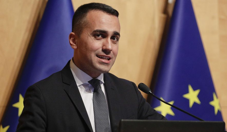 Five star movement leader and deputy Premier Luigi di Maio talks during a press conference, in Rome, Friday, Feb. 15, 2019. France is sending its ambassador Christian Masset back to Italy Friday following the biggest diplomatic dispute between the two countries since World War II after Italian Deputy Prime Minister Luigi Di Maio met with French yellow vest activists seeking to run for the European Parliament, causing France to recall the ambassador to protest perceived Italian meddling in French domestic politics. (AP Photo/Andrew Medichini)