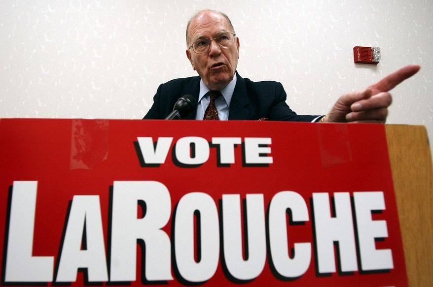 In this May 14, 2004, file photo, Democratic presidential hopeful Lyndon LaRouche Jr. campaigns in Montgomery, Ala. Fitting for a man who saw so much darkness in the world, LaRouche died on the fringes Tuesday, Feb. 12, 2019, his name little known to anyone under 50, his death rumored online a day before mainstream outlets confirmed it. His influence, however, will surely outlast him. (AP Photo/Dave Martin, File)