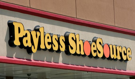 This Aug. 23, 2006, file photo shows a Payless storefront is seen in Philadelphia. Paylesss ShoeSource is shuttering all of its 2,100 remaining stores in the U.S. and Puerto Rico, joining a list of iconic names like Toys R Us and Bon-Ton that have been shuttered in the last year. The Topeka, Kansas-based chain said Friday, Feb. 15, 2019, it will hold liquidation sales starting Sunday and wind down its e-commerce operations. (AP Photo/Matt Rourke, File)