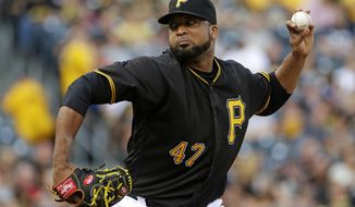 FILE - In this July 8, 2016, file photo, Pittsburgh Pirates starting pitcher Francisco Liriano delivers during the first inning of a baseball game against the Chicago Cubs, in Pittsburgh. Liriano had a handful of offers during free agency that were basically the same. Teams wanted him to come to spring training on a minor league contract. Realizing he was not getting a major league deal, he returned to the team where he had his best run during his 13-year career. The 35-year-old left-hander agreed to terms with the Pittsburgh Pirates on Feb. 4, one week before spring training.(AP Photo/Gene J. Puskar, File)