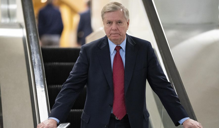Senate Judiciary Committee Chairman Lindsey Graham, R-S.C., an ally of President Donald Trump, leaves the Senate after voting to confirm William Barr to be attorney general, on Capitol Hill in Washington, Thursday, Feb. 14, 2019. (AP Photo/J. Scott Applewhite) ** FILE **