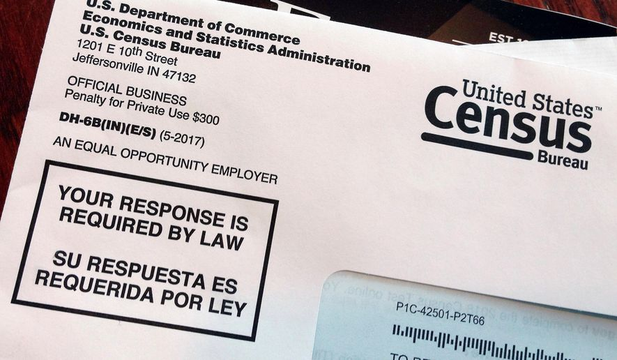 This March 23, 2018, file photo shows an envelope containing a 2018 census letter mailed to a U.S. resident as part of the nation's only test run of the 2020 Census. The Supreme Court will decide whether the 2020 census can include a question about citizenship that could affect the allocation of seats in the House of Representatives and the distribution of billions of dollars in federal money. (AP Photo/Michelle R. Smith, File)
