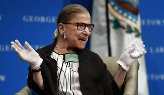 In this Sept. 20, 2017, file photo, U.S. Supreme Court Justice Ruth Bader Ginsburg reacts to applause as she is introduced by William Treanor, dean and executive vice president of Georgetown University Law Center, at the Georgetown University Law Center campus in Washington. The Supreme Court says Justice Ruth Bader Ginsburg has returned to the building for the first time since lung cancer surgery in late December. (AP Photo/Carolyn Kaster)