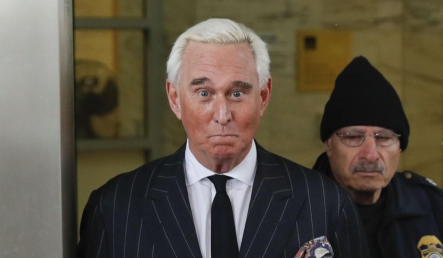 In this Feb. 1, 2019 photo, former campaign adviser for President Donald Trump, Roger Stone, leaves federal court in Washington. (AP Photo/Pablo Martinez Monsivais) ** FILE **