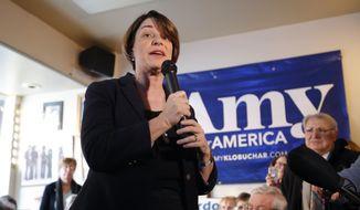 U.S. Sen. Amy Klobuchar, D-Minn., speaks during a meet and greet with local residents, Saturday, Feb. 16, 2019, in Mason City, Iowa. (AP Photo/Charlie Neibergall)