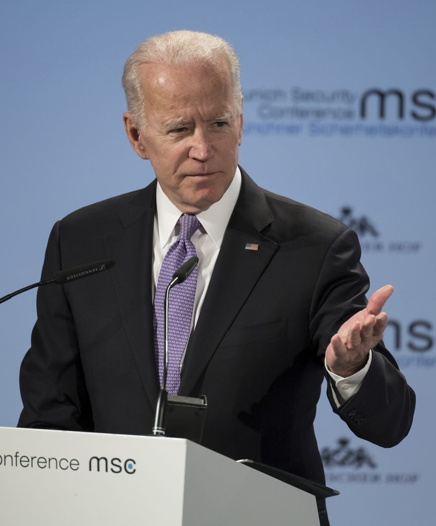 Former Vice President Joe Biden delivers his speech during the Munich Security Conference in Munich, Germany, Saturday, Feb. 16, 2019. (Sven Hoppe/dpa via AP)