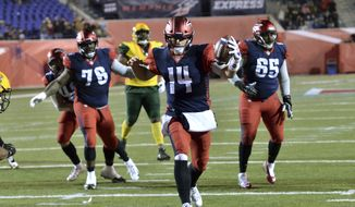 Memphis Express quarterback Christian Hackenberg (14) runs for a touchdown in the second half of an AAF football game against the Arizona Hotshots Saturday, Feb. 16, 2019, in Memphis, Tenn. (AP Photo/Brandon Dill) **FILE**