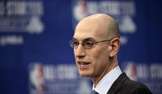 NBA Commissioner Adam Silver speaks during the NBA All-Star festivities, Saturday, Feb. 16, 2019, in Charlotte, N.C. The 68th All-Star game will be played Sunday. (AP Photo/Gerry Broome) ** FILE **