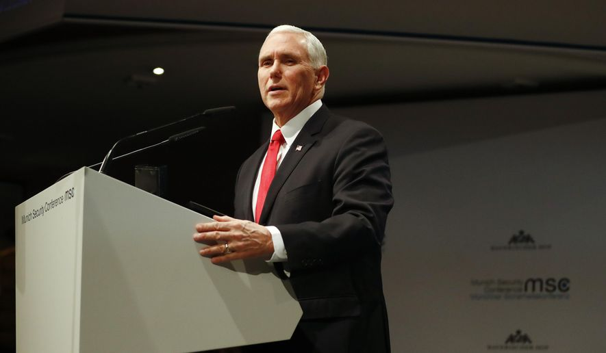 U.S. Vice President Mike Pence delivers his speech during the Munich Security Conference in Munich, Germany, Saturday, Feb. 16, 2019. (AP Photo/Matthias Schrader)