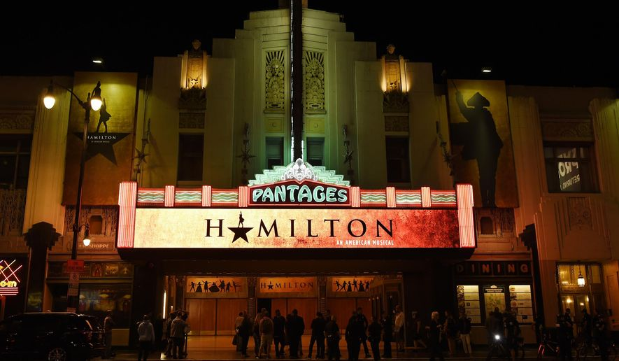 "FILE - This Aug. 16, 2017 file photo shows The Pantages Theatre on the opening night of the Los Angeles run of ""Hamilton: An American Musical"" in Los Angeles. Chaos broke out during a performance of the musical ""Hamilton"" at San Francisco's Orpheum theater after audience members mistook a medical emergency for a shooting on Friday, Feb. 15, 2019. (Photo by Chris Pizzello/Invision/AP, File)"