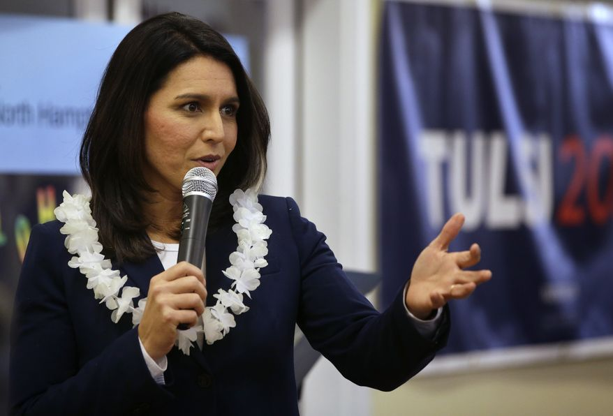 Presidential hopeful U.S. Rep. Tulsi Gabbard, D-Hawaii, addresses an audience during a meet-and-greet, Sunday, Feb. 17, 2019, in New Hampshire. (AP Photo/Steven Senne) ** FILE **