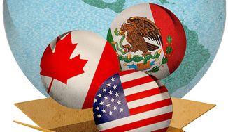 NAFTA Trade Agreement Illustration by Greg Groesch/The Washington Times