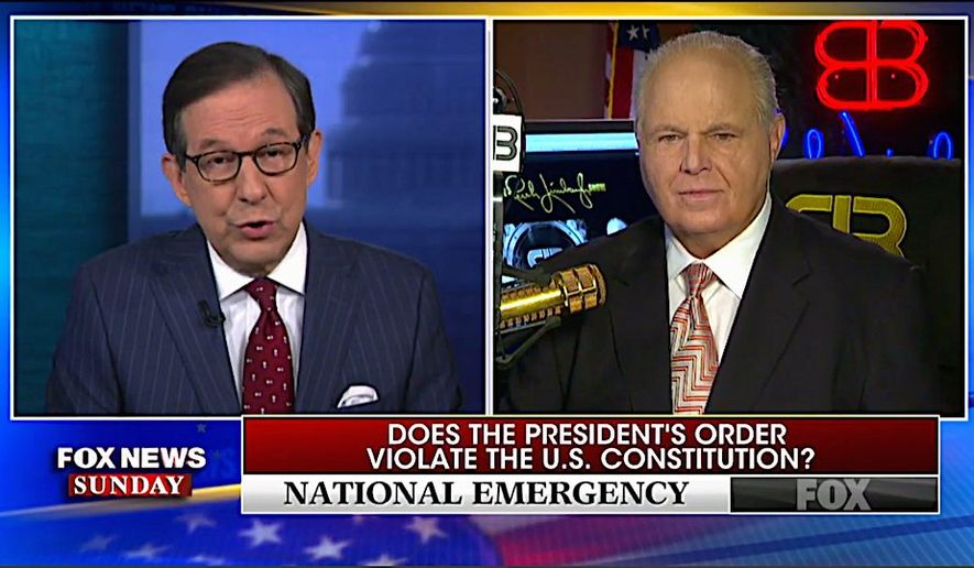 "During an appearance on ""Fox News Sunday,"" talk radio host Rush Limbaugh wondered why news organizations didn't contact him for comments on the issues. Not ""one inquiry"" he told Chris Wallace. (Fox News)"