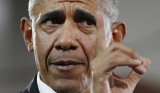 Former President Barack Obama speaks during a campaign rally for Georgia gubernatorial candidate Stacey Abrams at Morehouse College Friday, Nov. 2, 2018, in Atlanta. (AP Photo/John Bazemore) ** FILE **