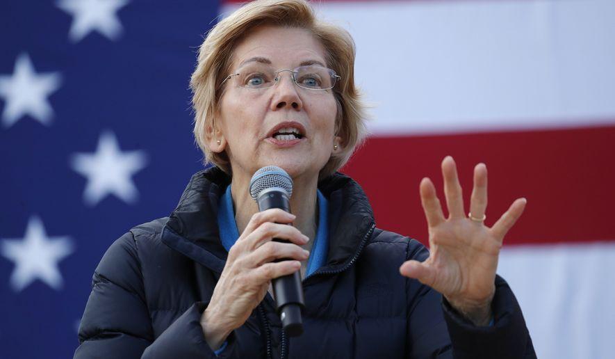 Presidential candidate Sen. Elizabeth Warren, D-Mass., speaks at an organizing event Sunday, Feb. 17, 2019, in Las Vegas. (AP Photo/John Locher)