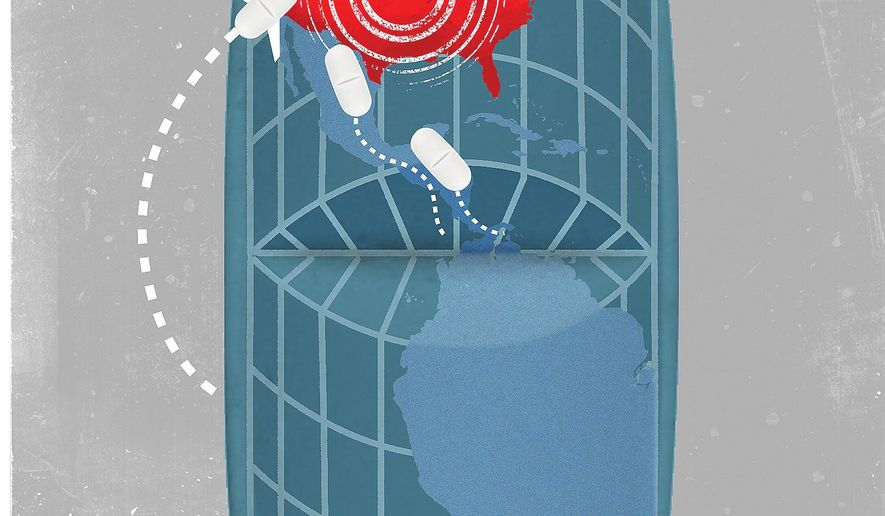 Illustration on the opiode crisis in America by Linas Garsys/The Washington Times