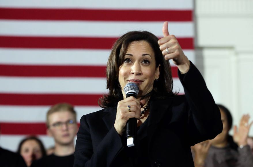 """""""I intend to compete in New Hampshire,"""" said Sen. Kamala D. Harris. """"I intend to spend time here. I intend to shake every hand I possibly can. I want to talk with you. I want to listen to you. I want to be challenged by you,"""" Ms. Harris said during her visit. (Associated Press)"""