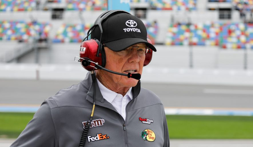 """""""It's the most emotional and the biggest win I've ever had in my life in anything,"""" Joe Gibbs said of Denny Hamlin's Daytona 500 victory Sunday. (ASSOCIATED PRESS)"""