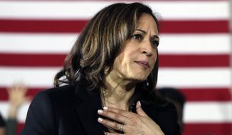 Democratic presidential candidate Sen. Kamala Harris, D-Calif., listens to a question at a campaign event in Portsmouth, N.H. (AP Photo/Elise Amendola)