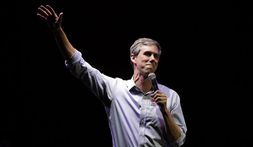 FILE - In this Nov. 6, 2018, file photo, U.S. Rep. Beto O'Rourke, the 2018 Democratic Candidate for U.S. Senate in Texas, makes his concession speech at his election night party in El Paso, Texas. When Donald Trump visited O'Rourke's hometown to argue that walling off the southern border makes the U.S. safer, the former Democratic congressman and possible 2020 presidential hopeful was ready. As the president filled an El Paso arena with supporters, O'Rourke helped lead thousands of his own on a protest march past the barrier of barbed-wire topped fencing and towering metal slats that separates El Paso from Ciudad Juarez, Mexico. (AP Photo/Eric Gay, File)
