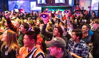 Esports fans cheer for the Washington Justice in the team's inaugural game in the Overwatch League during a watch party at Penn Social in Washington, D.C. on Saturday, Feb. 16, 2019. (Photo courtesy of Kaz Sasahara for Washington Justice)
