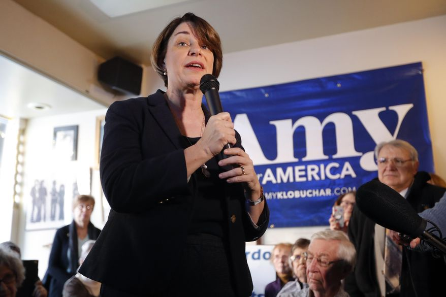 U.S. Sen. Amy Klobuchar, D-Minn., speaks during a meet and greet with local residents, Saturday, Feb. 16, 2019, in Mason City, Iowa. Five Democratic senators, including Klobuchar, vying for their party's nomination to challenge President Donald Trump in 2020 fanned out across the country Saturday to campaign and meet voters. (AP Photo/Charlie Neibergall)