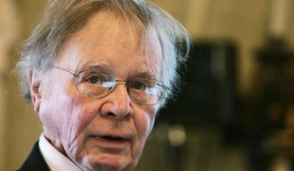 """FILE - In this Nov. 21, 2008, file photo, Wallace Smith Broecker, a professor in the Department of Earth and Environmental Sciences at Columbia University in New York, addresses the audience during the Balzan prize ceremony in Rome. Broecker, a climate scientist who popularized the term """"global warming,"""" has died. He was 87. Columbia University said the longtime professor and researcher died Monday, Feb. 18, 2019, at a New York City hospital. (AP Photo/Gregorio Borgia)"""