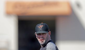 FILE - In this Feb. 15, 2019, file photo, Baltimore Orioles manager Brandon Hyde walks on the field at their spring training baseball facility in Sarasota, Fla. Under new manager Brandon Hyde, the Orioles have many jobs up for grabs, and nowhere is the competition less defined than in the infield.  (AP Photo/Gerald Herbert, File)