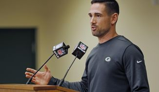 Green Bay Packers' head coach Matt LeFleur addresses the media during a press conference Monday, Feb. 18, 2019, in Green Bay, Wis. (AP Photo/Matt Ludtke)