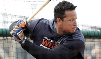 Detroit Tigers first baseman Miguel Cabrera bats at the Detroit Tigers spring training baseball facility, Monday, Feb. 18, 2019, in Lakeland, Fla. (AP Photo/Lynne Sladky)