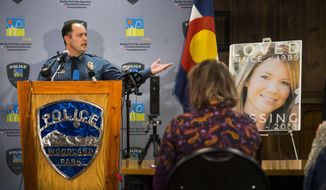 FILE - In this Dec. 21, 2018, file photo, Woodland Park Police Chief Miles De Young speaks about the arrest of Patrick Frazee in the murder of his fiance Kelsey Berreth, seen right, who has been missing since Thanksgiving, at the Woodland Park, Colo., City Hall. Additional charges have been filed against Frazee, charged with murder and solicitation to commit murder in the death of his missing fiancee, prosecutors said Tuesday, Feb. 19, 2019. (Christian Murdock/The Gazette via AP, File)