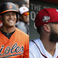 This combination of file photos shows Manny Machado, left, and Bryce Harper. A former Baltimore Orioles infielder, Machado reportedly agreed to terms with the San Diego Padres on a 10-year, $300 million contract on Tuesday, Feb. 19, 2019. Bryce Harper, formerly of the Washington Nationals, still had yet to sign with a new team when Machado's details were reported. (AP Photos/John Minchillo and Manuel Balce Ceneta) ** FILE **