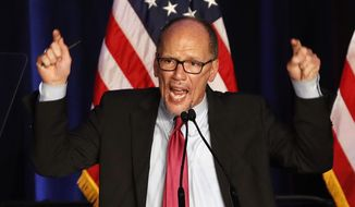 FILE - In this this Nov. 6, 2018, file photo, Tom Perez, Chairman of the Democratic National Committee speaks to a crowd of Democratic supporters in Washington. Officials in Houston, Miami and Milwaukee are in a mad scramble to lure the Democratic presidential nominating convention in 2020, but each city has something left to prove. (AP Photo/Jacquelyn Martin, File)