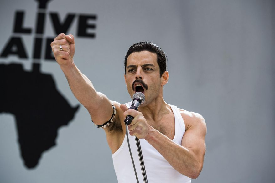 "This image released by Twentieth Century Fox shows Rami Malek in a scene from ""Bohemian Rhapsody."" Malek is nominated for an Oscar for best actor for his role in the film. The 91st Academy Awards will be held on Sunday. (Alex Bailey/Twentieth Century Fox via AP)"
