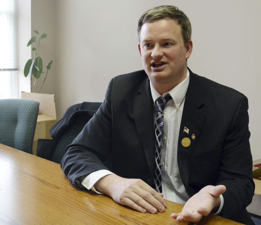 Jason Ravnsborg speaks in Sioux Falls, S.D. (AP Photo/Dirk Lammers, File)