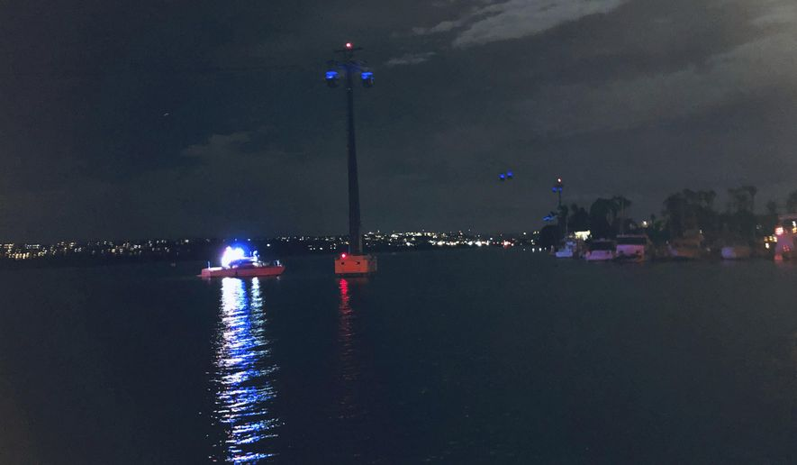 "In this photo provided by Kasia Gregorczyk, more than a dozen people are trapped on a ride at SeaWorld Monday, Feb. 18, 2019, in San Diego. San Diego police tell FOX5 News that around six gondolas stopped functioning Monday night after a big gust of wind tripped a circuit breaker on ""Bayside Skyride."" (Kasia Gregorczyk via AP)"