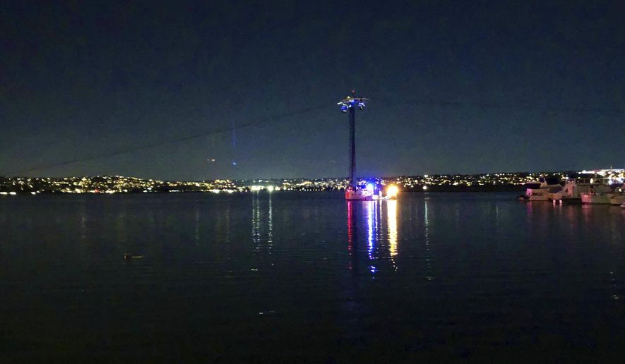 """In this photo provided by Kasia Gregorczyk, more than a dozen people are trapped on a ride at SeaWorld Monday, Feb. 18, 2019, in San Diego. San Diego police tell FOX5 News that around six gondolas stopped functioning Monday night after a big gust of wind tripped a circuit breaker on """"Bayside Skyride."""" (Kasia Gregorczyk via AP)"""