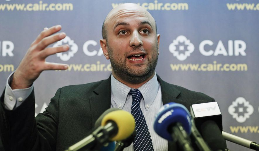 In this Jan. 30, 2017, file photo, attorney Gadeir Abbas speaks during a news conference at the Council on American-Islamic Relations (CAIR) in Washington. The federal government has acknowledged that it shares its terrorist watchlist with more than 1,400 private entities, including hospitals and universities, prompting concerns from civil libertarians that those mistakenly placed on the list could face a wide variety of hassles in their daily lives. (AP Photo/Alex Brandon, File)