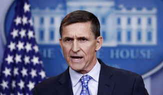 In this Feb. 1, 2017, file photo, then-National Security Adviser Michael Flynn speaks during the daily news briefing at the White House, in Washington. (AP Photo/Carolyn Kaster) ** FILE **