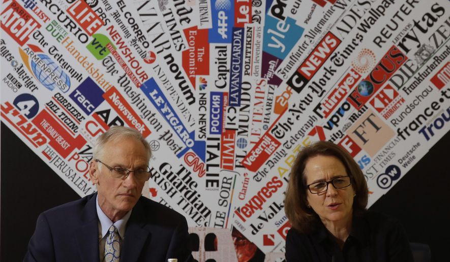 BishopAccountability.org group Director Phil Saviano, left, and Co-Director Anne Barrett Doyle, attend a press conference at the foreign press association in Rome, Tuesday, Feb. 19, 2019. (AP Photo/Alessandra Tarantino)
