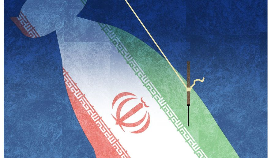 Illustration on the European Union's continuing connection to the Iran agreement by Alexander Hunter/The Washington Times