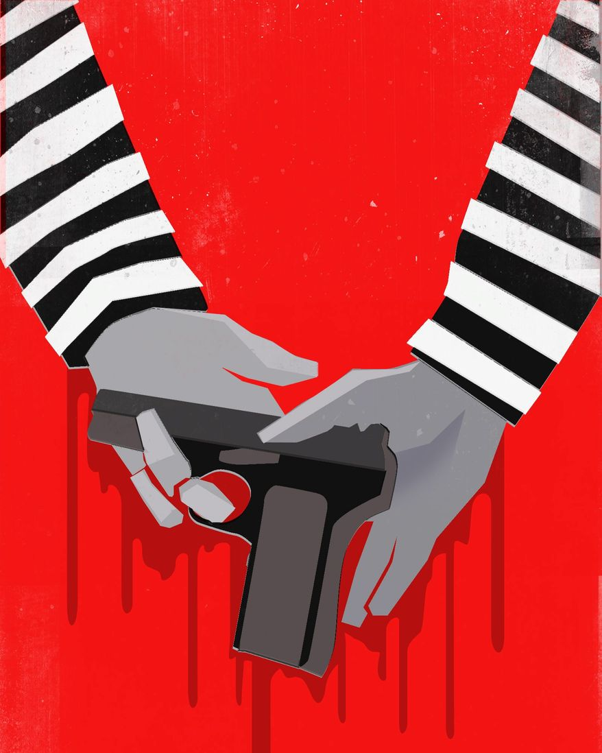 Illustration guns used by criminals by Linas Garsys/The Washington Times