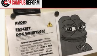 "An image of ""Pepe,"" a cartoon frog, prompted officials at Folsom Lake College in California to call the police and conduct a ""sweep"" of the campus in February 2019. (Image: Campus Reform)"
