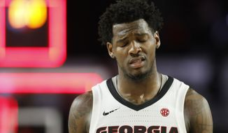 Georgia guard Tyree Crump reacts after Georgia to Mississippi State during an NCAA college basketball game in Athens, Ga., Wednesday, Feb. 20, 2019. (Joshua L. Jones/Athens Banner-Herald via AP) ** FILE **