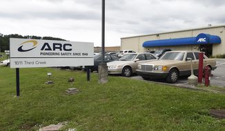 FILE- This July 14, 2015, file photo shows the ARC Automotive manufacturing plant in Knoxville, Tenn. Nearly four years ago, the U.S. government's highway safety agency began investigating air bag inflators made by ARC Automotive of Tennessee when two people were hit by flying shrapnel after crashes. A public records posted by the agency show little progress on the probe, which began in July of 2015 and remains unresolved. (Adam Lau/Knoxville News Sentinel via AP, File)