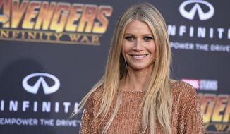 """FILE - In this April 23, 2018 file photo, Gwyneth Paltrow arrives at the world premiere of """"Avengers: Infinity War"""" in Los Angeles. Paltrow denied Wednesday, Feb. 20, 2019,  that she skied into a man who accused her in a lawsuit of seriously injuring him at a Utah ski resort, alleging in a counter claim that the man actually plowed into her from behind and delivered a full """"body blow.""""   (Photo by Jordan Strauss/Invision/AP, File)"""